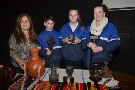Guest speaker Maria Strintzos with Lyndhurst Secondary College students Joshua, Sophie and Erin. Picture: DONNA OATES