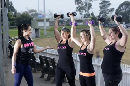 Instructor Julie Cox, left, with Mums in Motion participants Nicole Gainfort, Becc Harvey and Beck Saunders. 127372 Picture: ROB CAREW